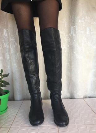 Кожаные натуральные итальянские высокие сапоги ботфорты