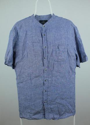 Стильная качественная рубашка без ворота от canda 100 % лён размер л