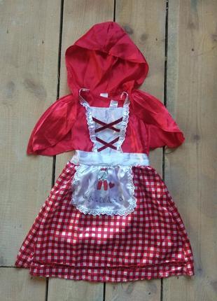 Карнавальное платье красная шапочка 3-5 лет