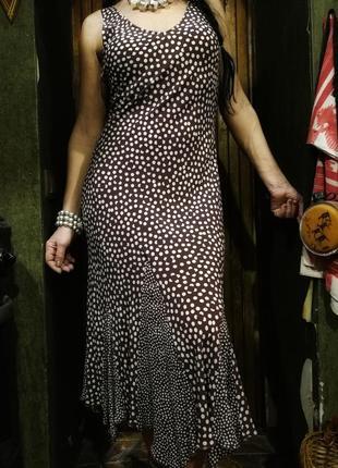 Вискозное летнее платье по фигуре сарафан в горошек per una