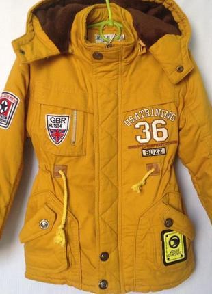 Демисезонная котоновая куртка парка для мальчика 5-7 лет