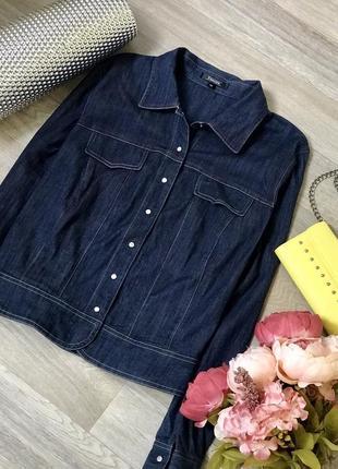 Укороченная джинсовая рубашка на кнопках