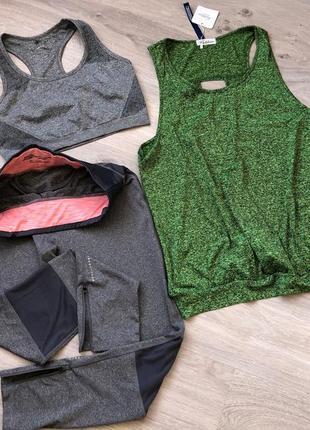 Костюм для фитнеса, для спорта. костюм 3-ка для фитнеса лосины, топ,майка - футболка