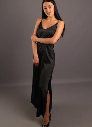 Платье комбинация на кожаных лямках