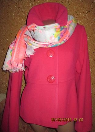 Next* 12р-14р  шерсть. яркое малиновое полупальто + шарф