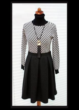 Модная расклешенная юбка колокол черного цвета, р.48-50