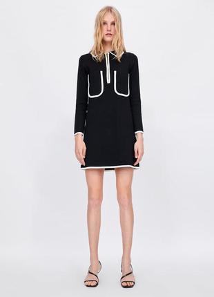 Платье-поло вязанное  с контрастной отделкой zara