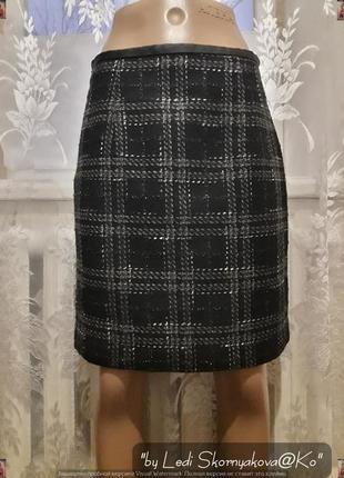 Новая качественная юбка в чёрно-серую крупную клетку, размер с-м
