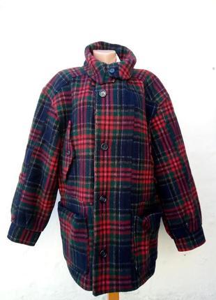 Трендовое шерстяное теплое пальто в клетку oversize,большой размер,шотланка,жаке.