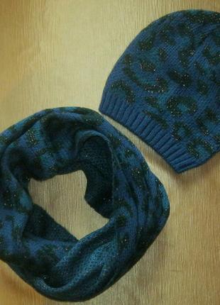 Комплект с леопардовым принтом: удобная шапочка и объемный шарф-снуд от tchibo, германия