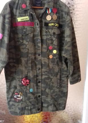 Женская удлиненная куртка свобобного кроя оверсайз zara army