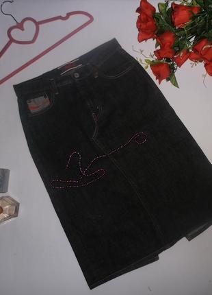 Винтажная прямая джинсовая юбка coca-cola