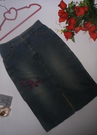 Классическая прямая джинсовая юбка marks & spencer