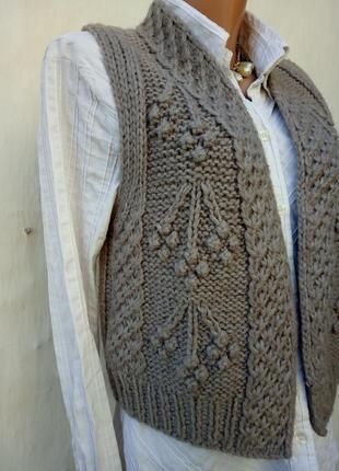 Трендовая шерстяная теплая вязаная жилетка,альпака,крупная вязка,кэжуал.