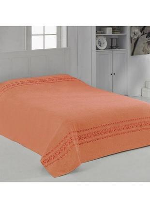 Неоново оранжевая махровая простынь, плед, покрывало
