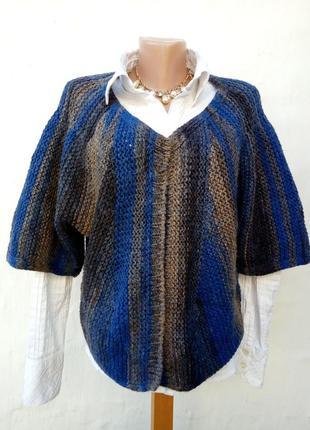 Красивое трендовое вязаное теплое шерстяное болеро в полоску,кардиган,накидка.