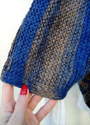 Красивое трендовое вязаное теплое шерстяное болеро в полоску,кардиган,накидка.2