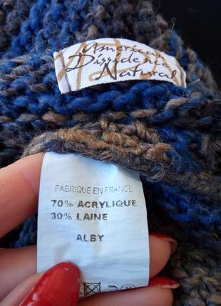 Красивое трендовое вязаное теплое шерстяное болеро в полоску,кардиган,накидка.3