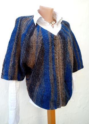 Красивое трендовое вязаное теплое шерстяное болеро в полоску,кардиган,накидка.4