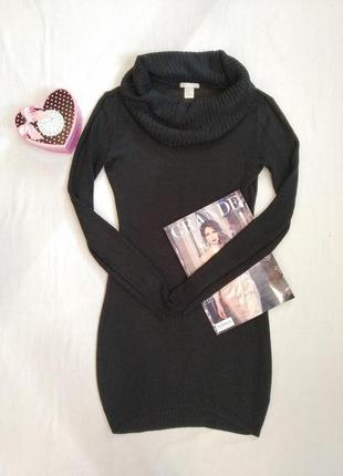 Актуальное базовое вязаное трикотажное платье туника с воротником/свитер