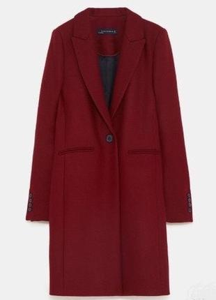 Бордовое пальто zara шерстяное прямого кроя