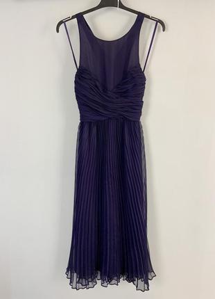 Вечернее фиолетовое плиссированное платье миди с вырезом по спинке asos