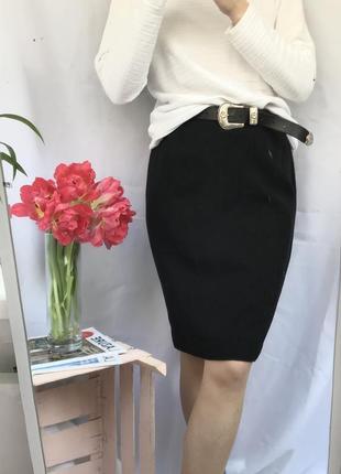 Торг! юбка черная карандаш на талию с высокой посадкой осенняя зауженая по колено