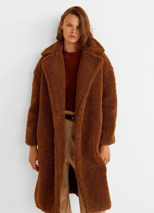Шикарная искуственная шуба mango teddy faux fur coat пальто шубка