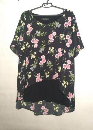 Туника блуза удлиненная черная с цветами  вискоза трапеция