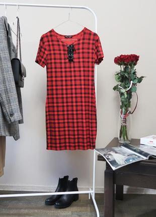 Трикотажна сукня в клітинку із віскози/ платье - футболка в клетку со шнуровкой