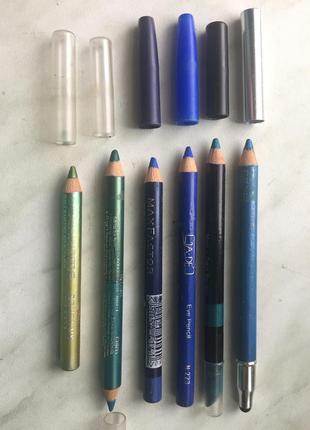 Карандаши для глаз зелёных и голубых оттенков