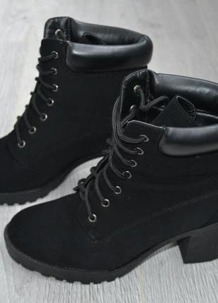 Ботинки, сапожки на шнуровке, удобный устойчивый каблук