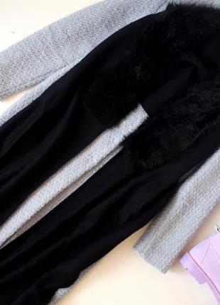 Черный большой шарф с мехом можно как пончо объемный шарф