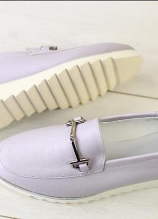 Женские туфли без каблука, натуральная кожа