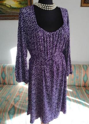 Супер туника-платье фиолетовая в белый цветочек yours 26-28 размер