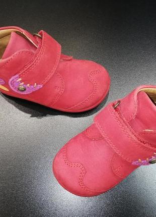 Ботиночки для малышки из натуральной кожи elefanten томатно-красные, р. 19 (12,8 см.)2