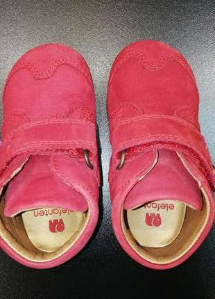 Ботиночки для малышки из натуральной кожи elefanten томатно-красные, р. 19 (12,8 см.)5