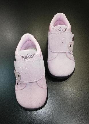 Ботиночки для малышки из натуральной замши primigi нежно-розовые, р. 18 (11,8 см.)
