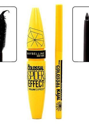 Набор 2 в 1 тушь для ресниц maybelline colossal spider effect   карандаш до 2022г