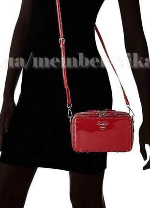 Клатч лаковый на два отделения, сумка через плече david jones 4011 красный