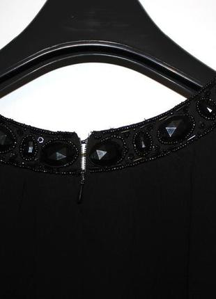 Черное шифоновое платье - камни по груди и спинке4 фото