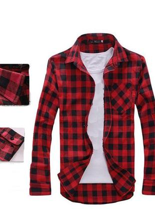 Рубашка с длинным рукавом в клетку (красная) №68 new 2019