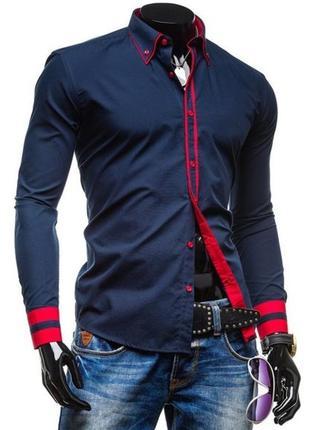 Рубашка мужская  (темно-синяя ) №77