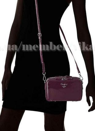 Клатч лаковый на два отделения, сумка через плечо david jones 4011 темно-фиолетовый