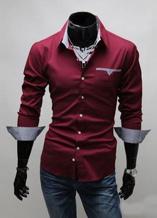 Мужская рубашка с длинным рукавом (красная) new 2019 код 46