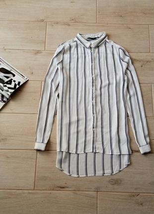 Стильная удлиненная шифоновая блуза блузка в вертикальные полоски свободного кроя р. m l
