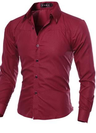 Рубашка в британксом стиле длинный рукав  красная код 1