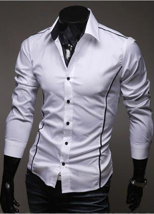 Мужская рубашка длинный рукав приталенная белая №6