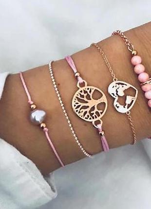 Набор браслетов 5 штук ( подвески жемчуг, сердце, дерево )
