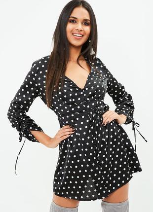 Sale!!! очень нежное сексуальное чёрное шелковое платье в горох